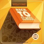 Back to school background with an orange book