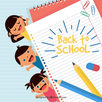 Back to school background with happy children