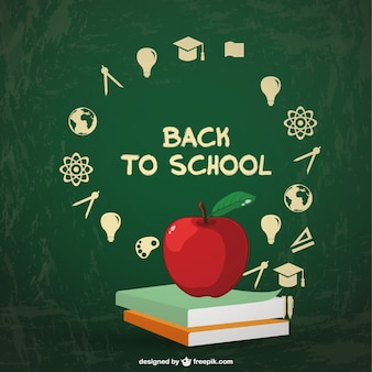 Back to school background with two books and an apple