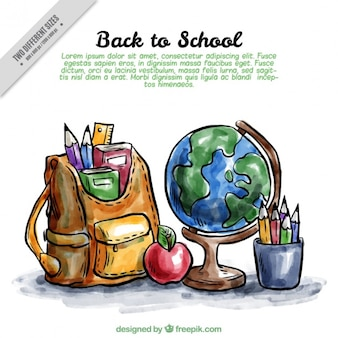Back to school background with watercolor materials