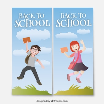 Back to school banners with a boy and a girl