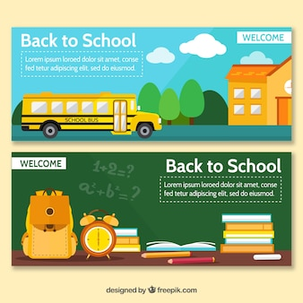 Back to school banners with bus and blackboard