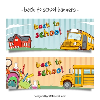 Back to school banners with bus and hand drawn elements