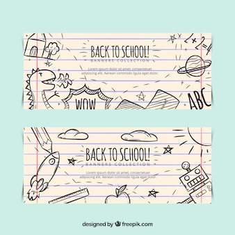 Back to school banners with children drawings