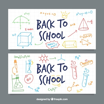 Back to school banners with colorful sketches