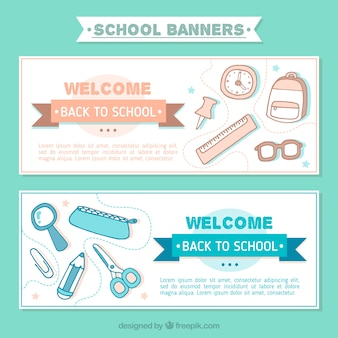 Back to school banners with drawings