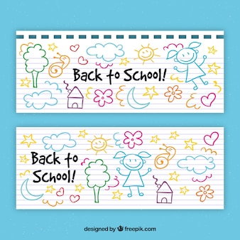 Back to school banners with hand drawn elements