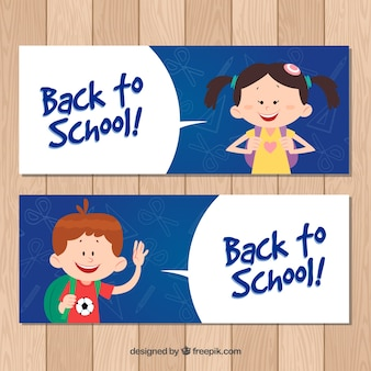 Back to school banners with happy children
