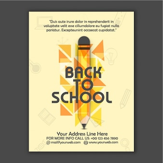 Back to school brochure with pencil and triangles