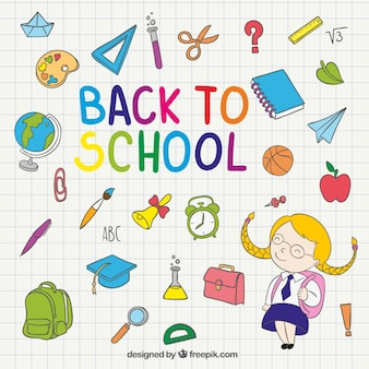 Back to school illustration on notebook