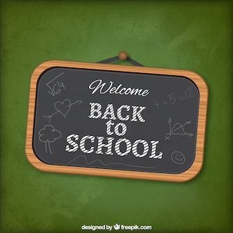 Back to school lettering on blackboard