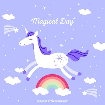 Background and unicorn flying and rainbows