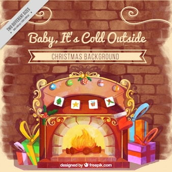 Background burning fireplace with watercolor gifts