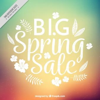 Background defocused of spring sales with flowers