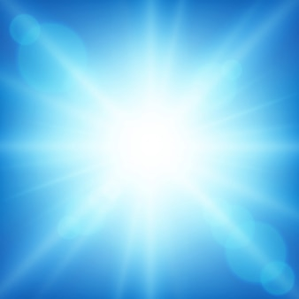Background design with bright light in blue sky