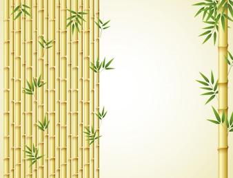 黄金の竹と緑の葉の背景のデザイン