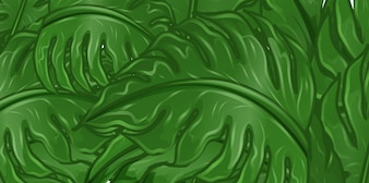 Background design with green leaves