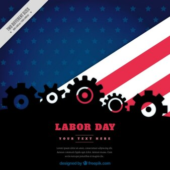 Background for labor day with the american flag and gears