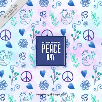 Background for peace day painted in watercolors with blue tones