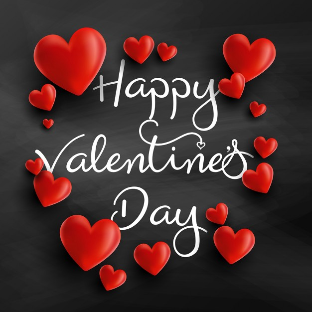 Background for valentine with 3d hearts