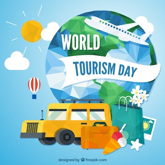 Background for world tourism day in polygonal style