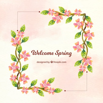 Background frame with floral watercolor details