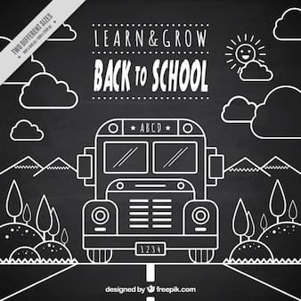 background in blackboard style school bus