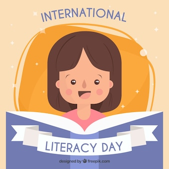 Background of a girl reading a book on international literacy day