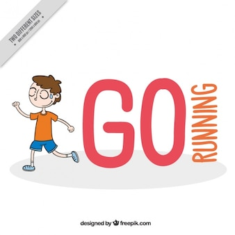 Background of a hand drawn child running with message