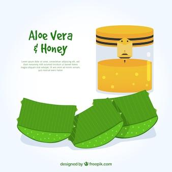 Background of aloe vera and honey