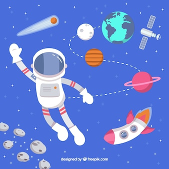 Background of astronaut greeting with rocket and planets