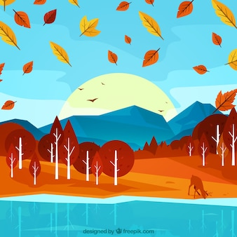 Background of autumnal forest with deer