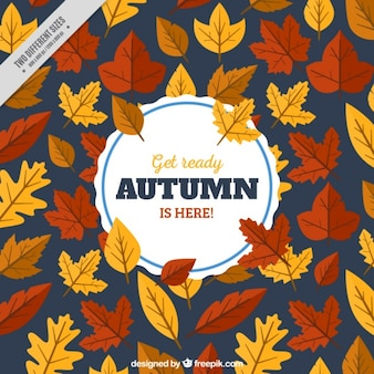Background of autumnal leaves in flat design