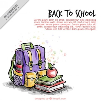 Background of backpack with hand painted schoolbooks