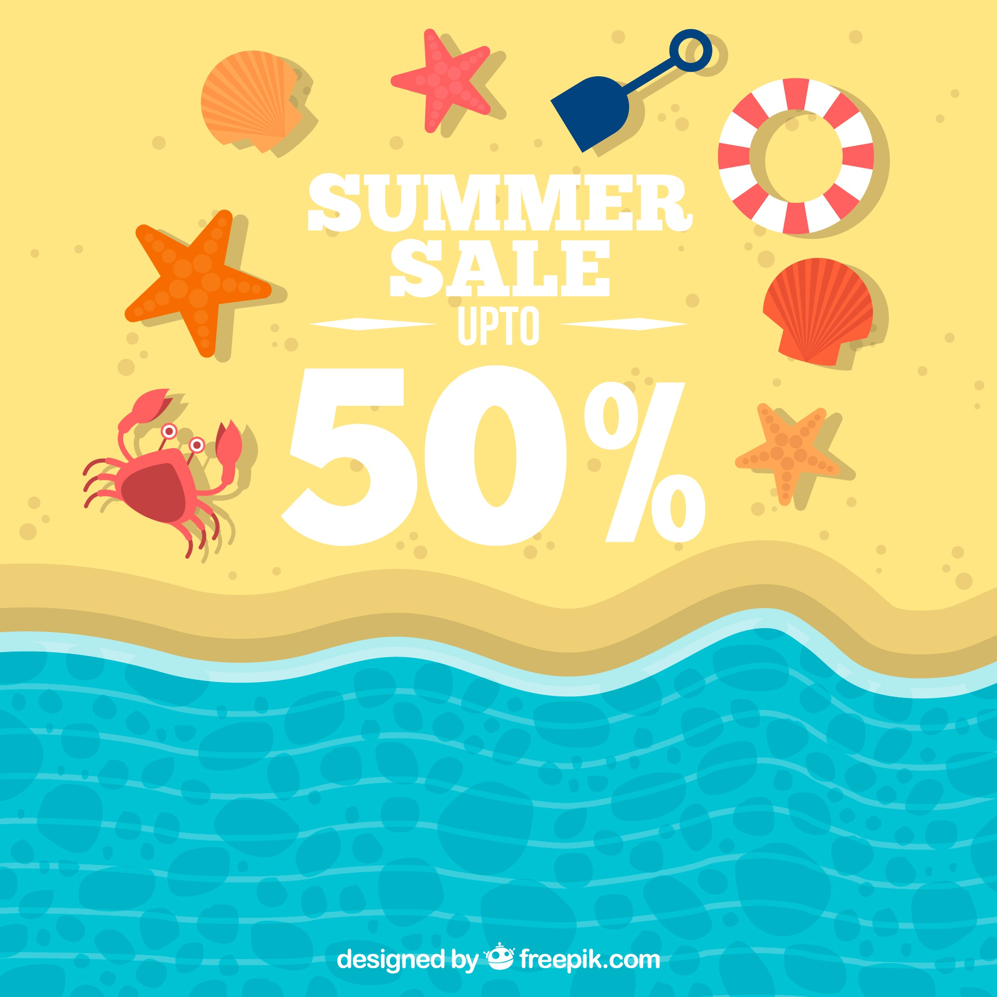 Background of beach shore sales with summer elements