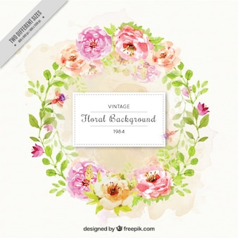 Background of beautiful decorative watercolor floral wreath