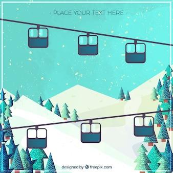 レトロなデザインのスキーリゾート地の美しい風景の背景