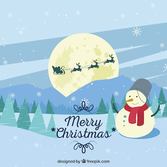 Background of beautiful snowy landscape with snowman and santa claus