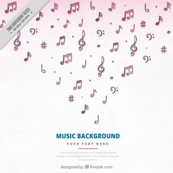 Background of beautiful watercolor musical notes