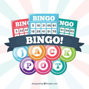 Background of bingo balls with ballots