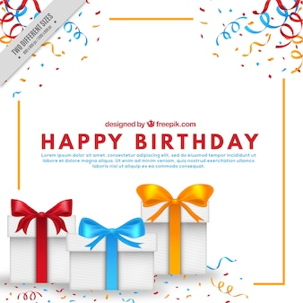 Background of birthday gifts and confetti