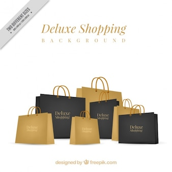 Background of black and golden luxury bags