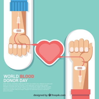 Background of blood donors in flat design