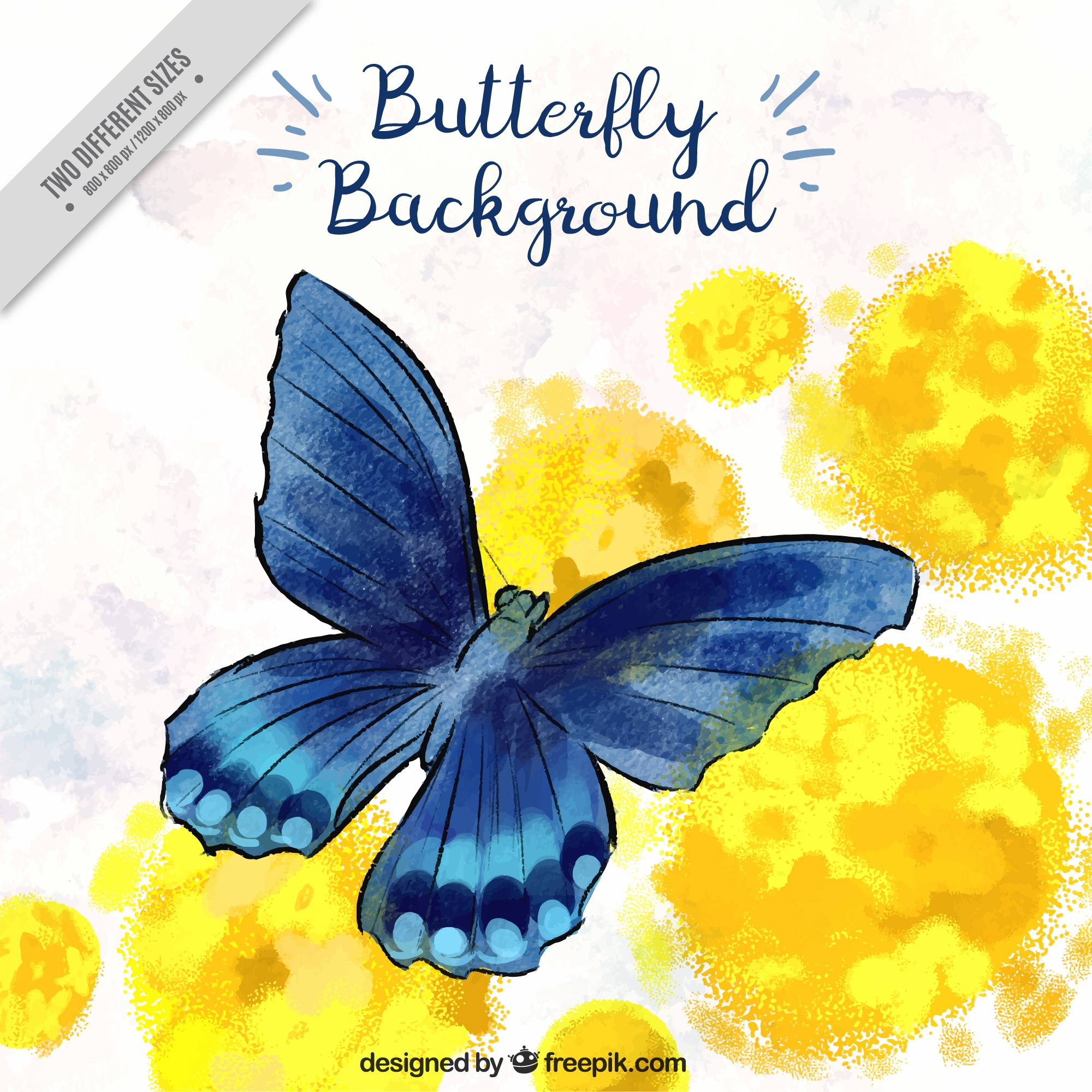 Background of blue butterfly in watercolor style