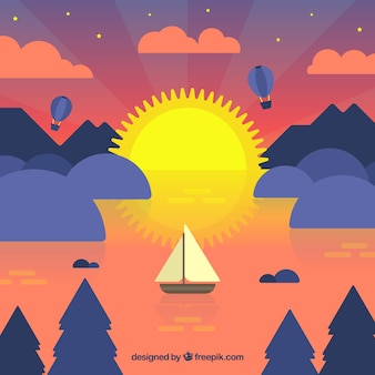 Background of boat in the sea at sunset in flat design