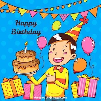 Background of boy celebrating birthday