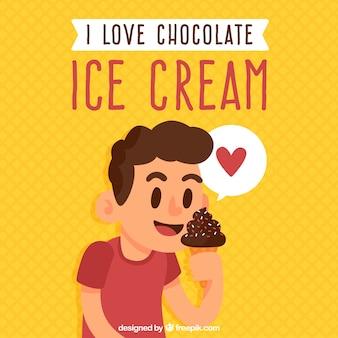 チョコレートアイスクリームを食べる少年の背景