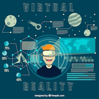 Background of boy enjoying with virtual space