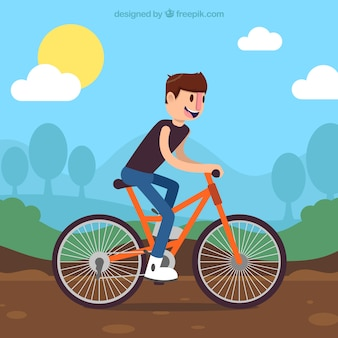 Background of boy on bike in flat design