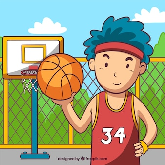 Background of boy playing basketball